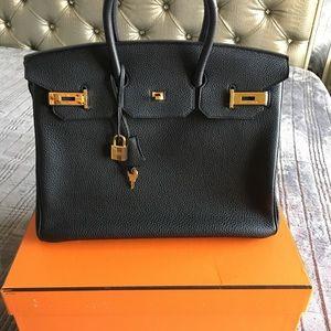 Hermes Noir Birkin 35 Black Gold Hardware